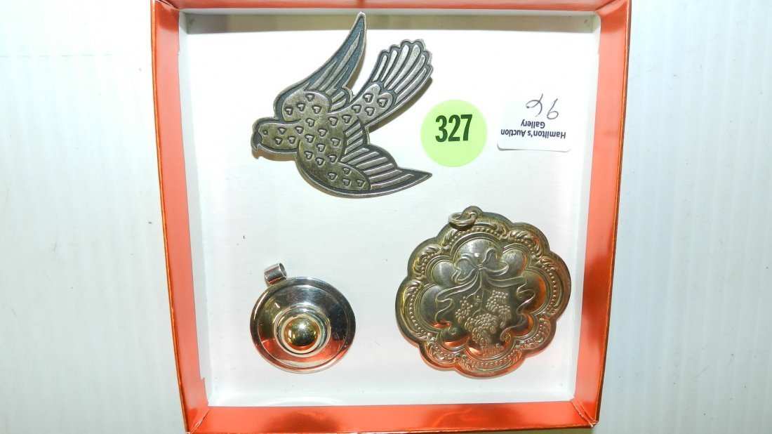 3 piece lovely ladies brooch & pendants all stamped