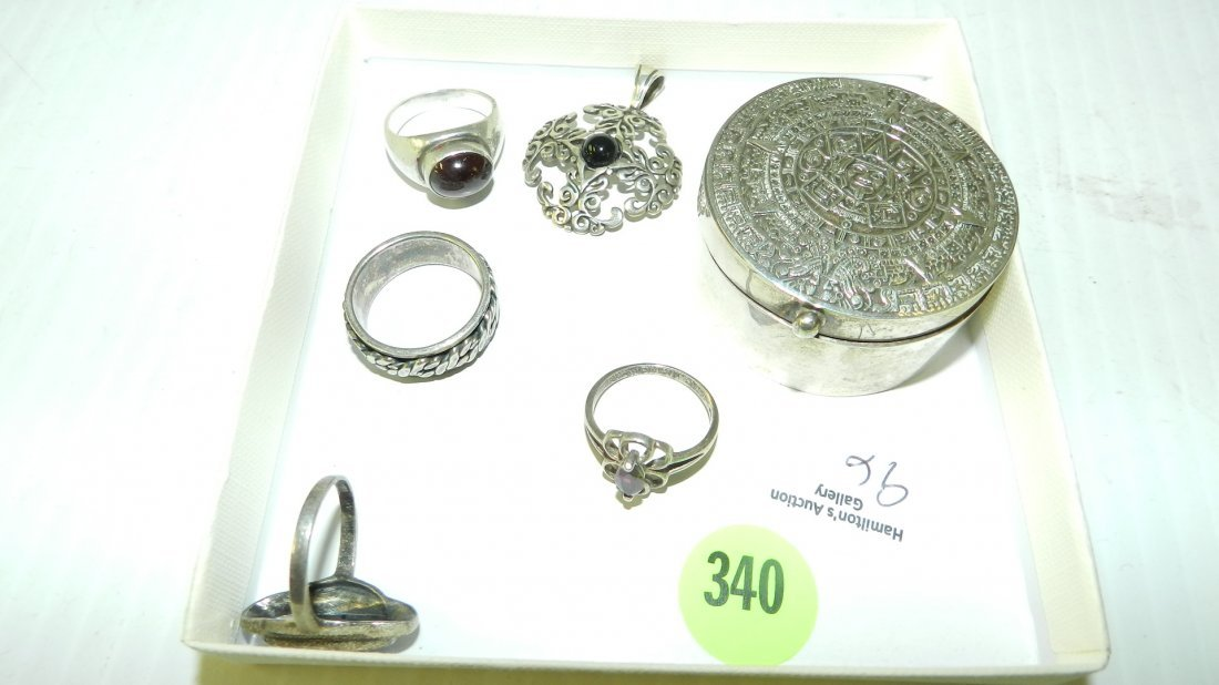 6 piece sterling silver (stamped 925) ring box / pill