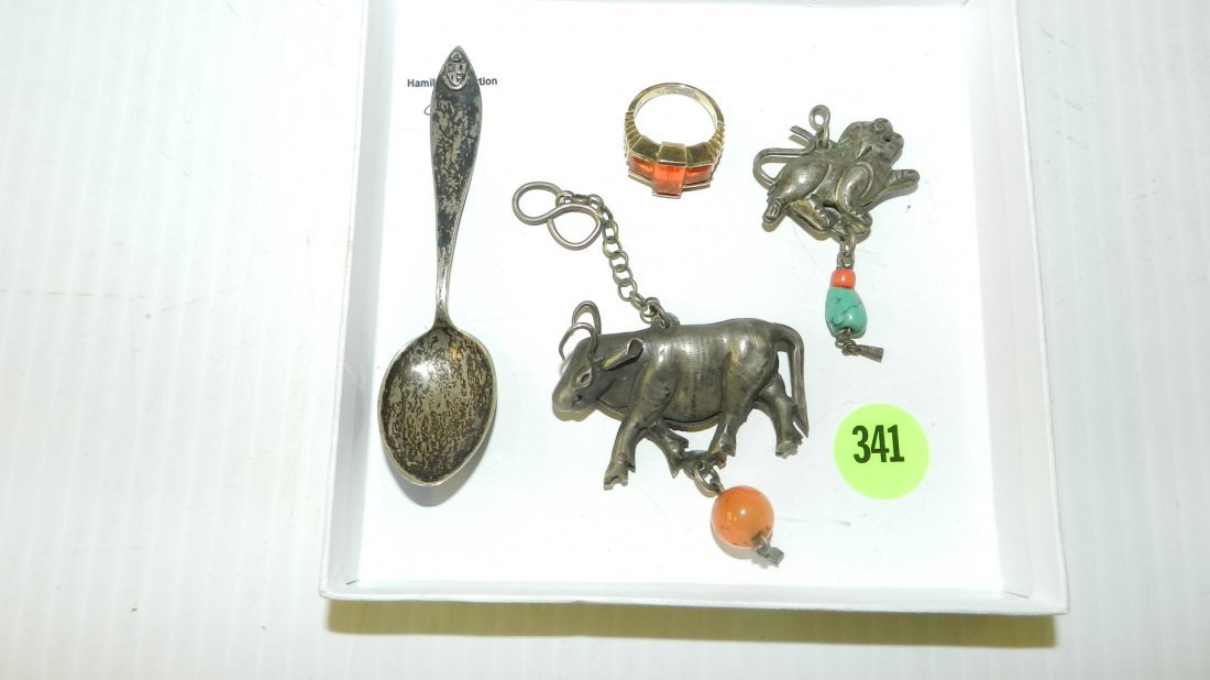 4 piece sterling? silver (stamped 925?) 2 charms in