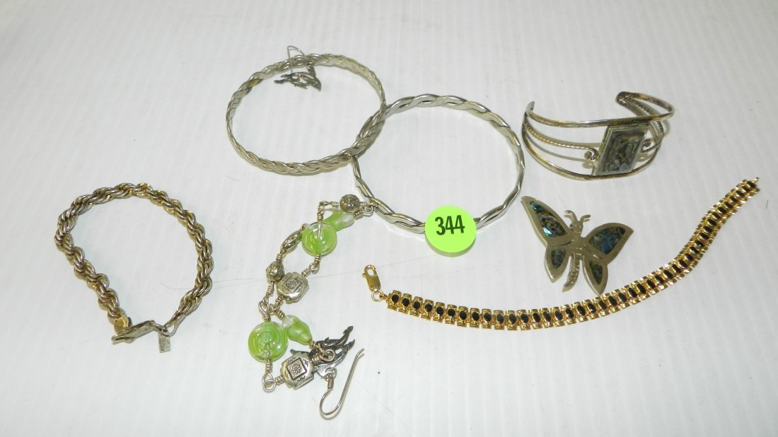 group of estate jewelry with bracelets (some sterling)
