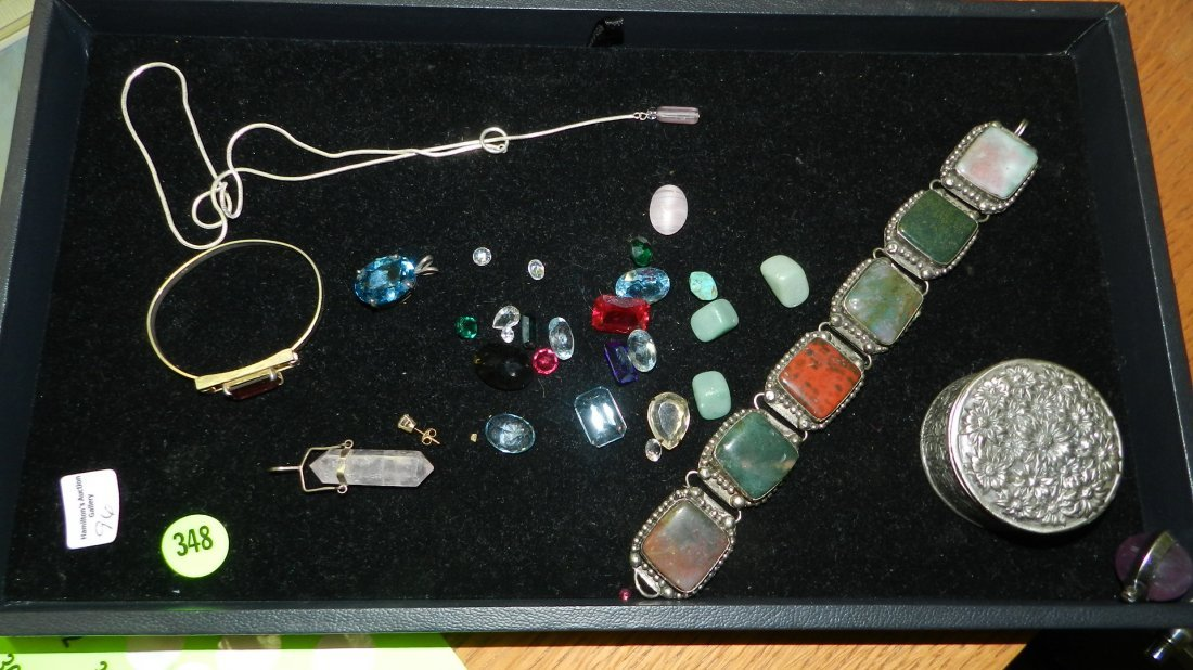 great tray of vintage estate jewelry and cut stones (no