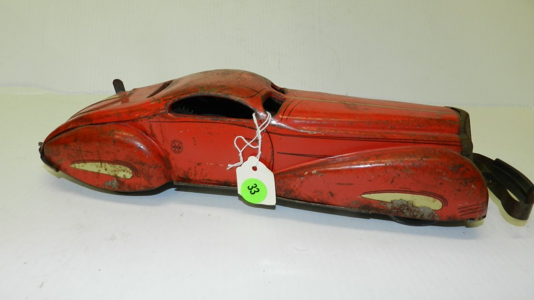 Antique, Marx 1939, wind up tin litho bumper car toy,