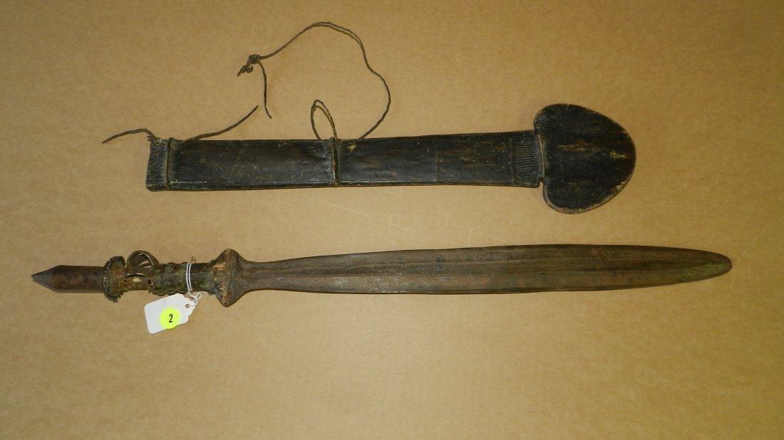 1449) nice handmade Sword / dagger with metal handle