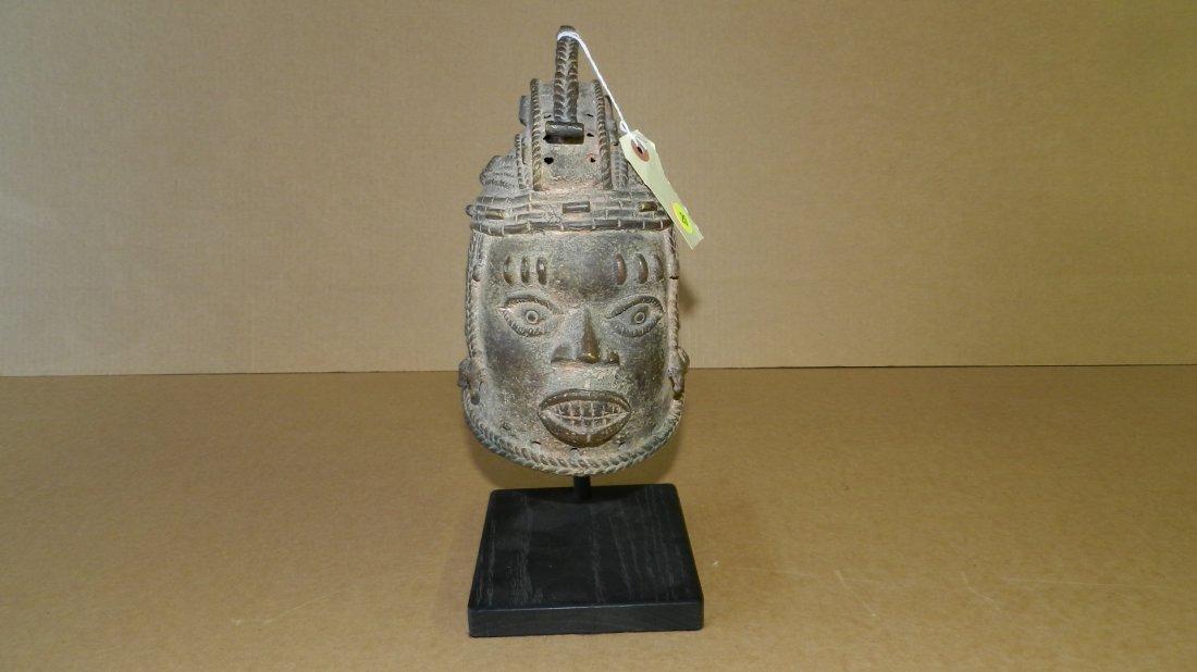 5741) African Benin bronze portrait head helmet mask