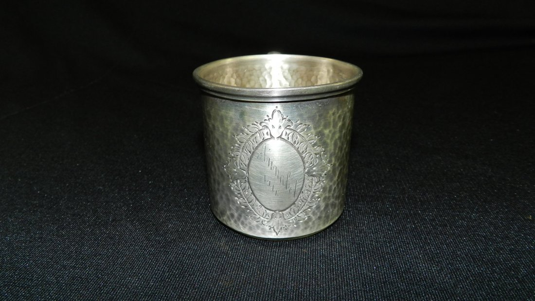 14) antique child's sterling silver cup dated 1916