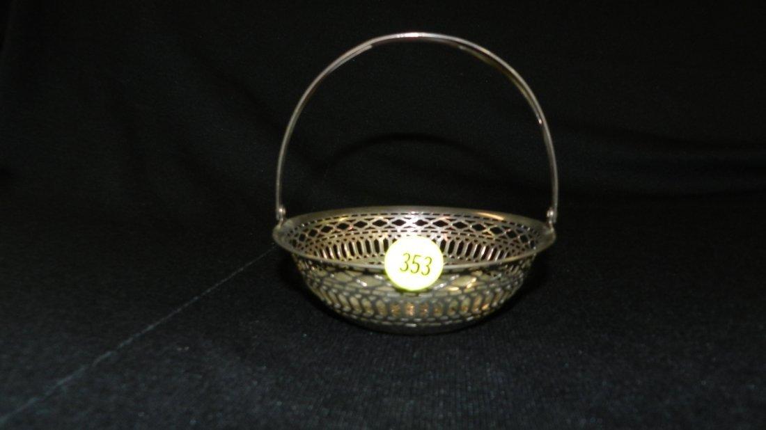 21) nice antique sterling silver pierced basket