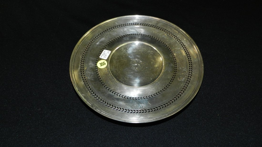 ) antique sterling silver / dish with monogramed on