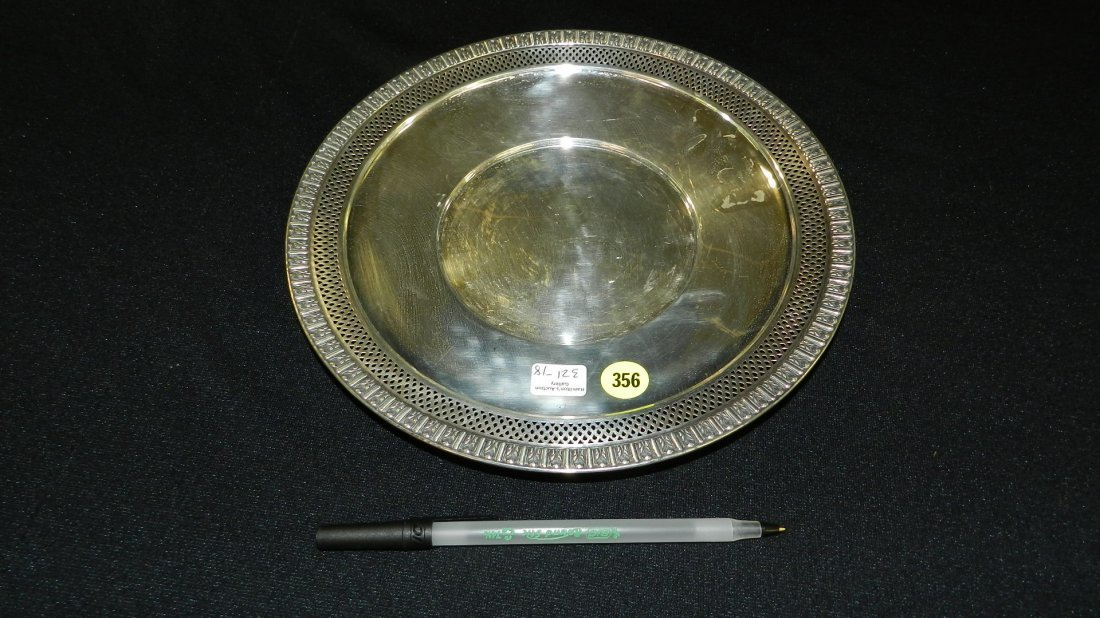 18) antique sterling silver pierced plate / footed dish