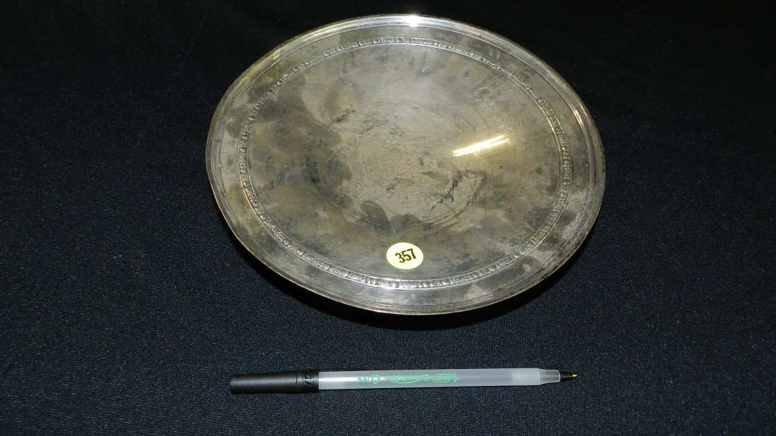22) antique sterling silver dish with monogramed on