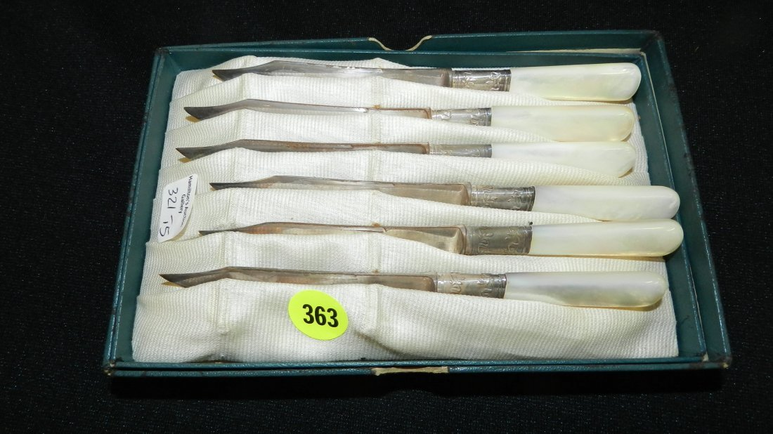 antique mother of pearl furit knives, sterling silver