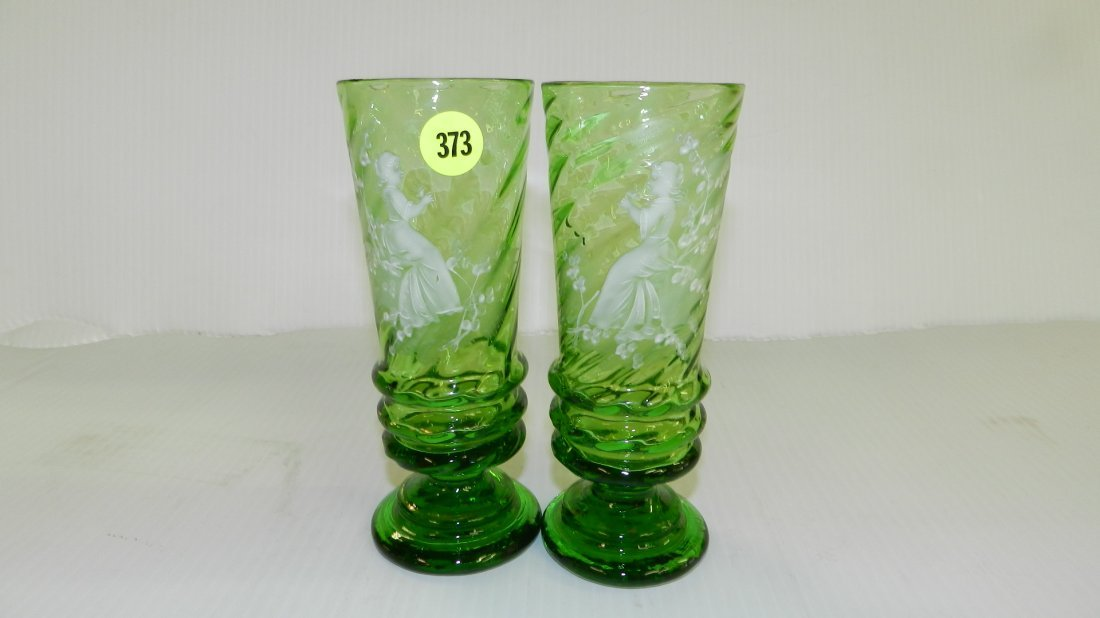 2 piece Antique hand painted Mary Gregory glass vases