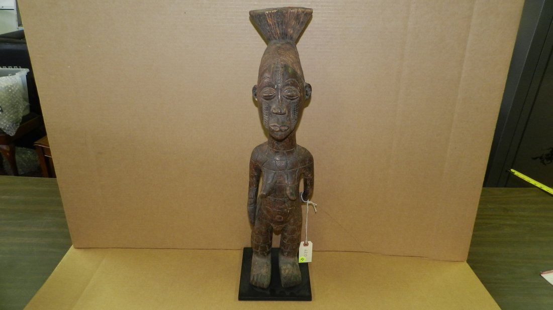 620) African carved female figure w/ conical coiffure,