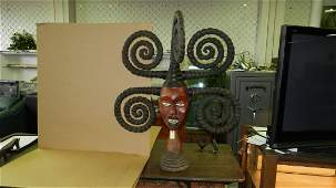 1052) Large African carved mask, Ekoi skin covered head