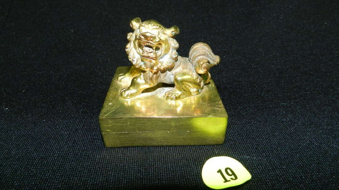 Nice Asian solid brass Foo Lion seal / stamp on block,