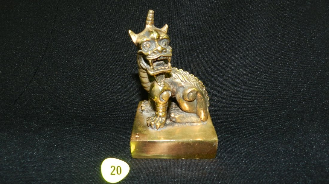Antique Asian solid brass lion / beast with horn, seal