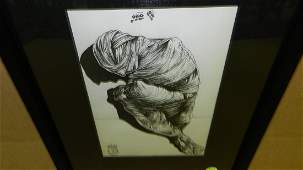 Salvador Dali The Mummy pen and ink sketch frame is