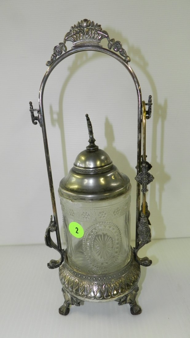 nice Victorian silver plated pickle castor with tongs