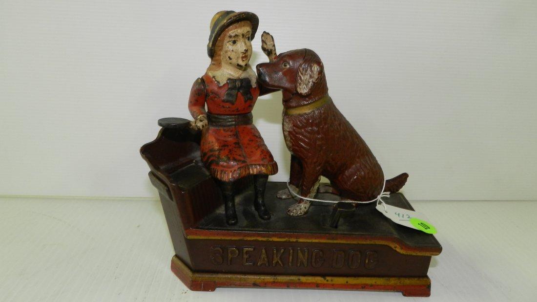 "original 1885 cast iron mechanical bank ""Speaking Dog"""