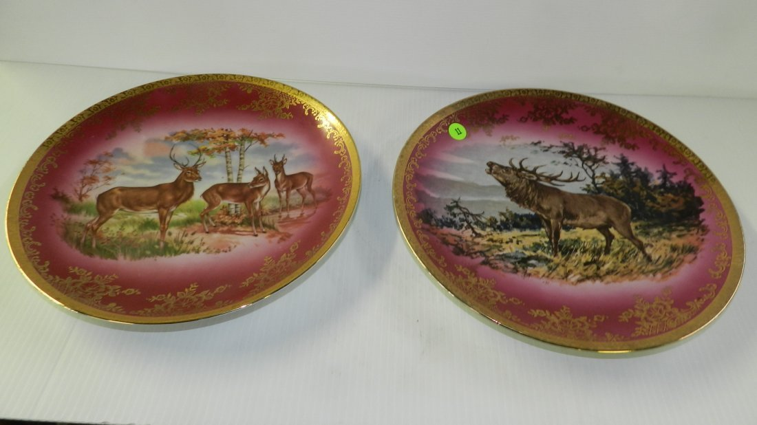 2 piece porcelain Stag / deer platters with beehive