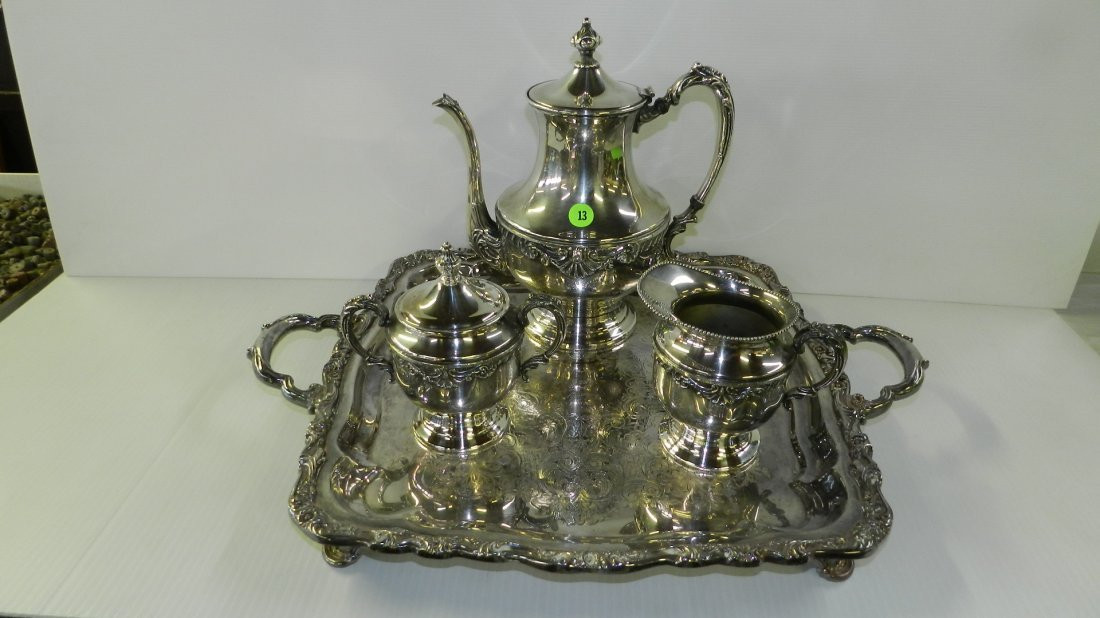 lovely silver plated tea set with 2 pots creamer and