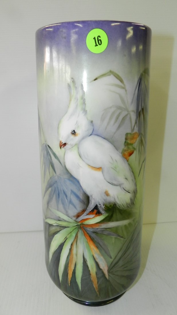 lovely hand painted porcelain cylinder vase with bird