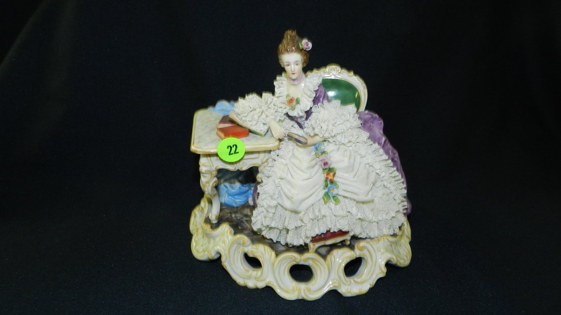 nice Dresden porcelain figurine young girl with lace