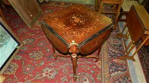 lovely antique fancy inlay quad drop side parlor table