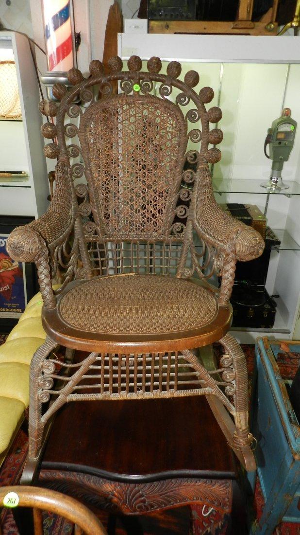 Antique wicker rocking chair, 1800's SSR