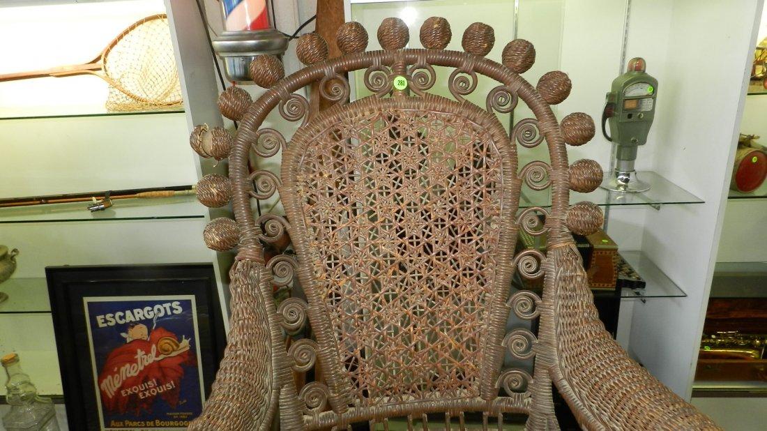 Antique wicker rocking chair, 1800's SSR - 2