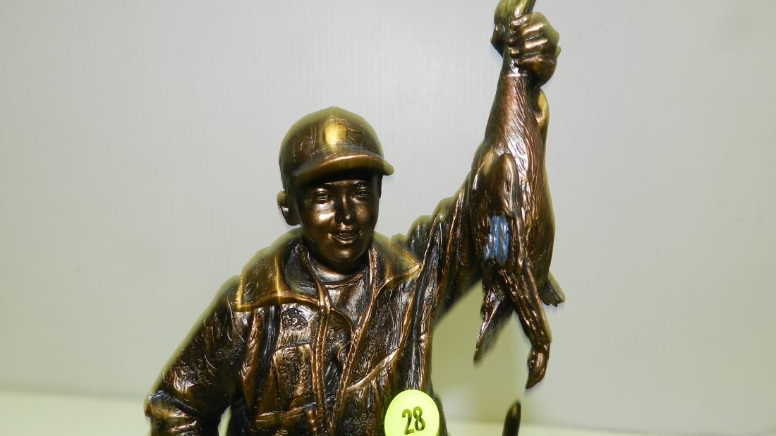 Sculpture of duck hunter with dog. Ducks Unlimited, - 2