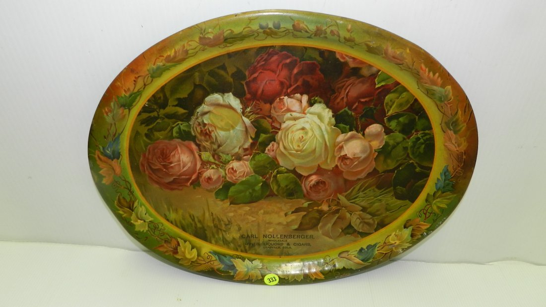 vintage tin litho advertising tray with roses, Carl