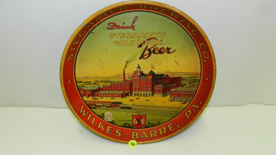 vintage Stegmaier's Gold Medal beer tray, depicting