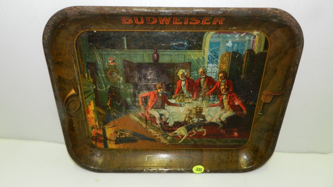Vintage Budweiser tin beer tray, with men drinking