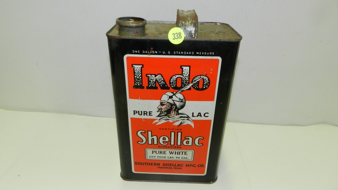 nice vintage tin Indo Shellac can, cond VG missing cap