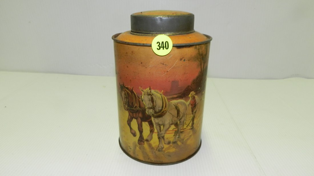 antique tin litho Rigeway Old Country Tea, with farm