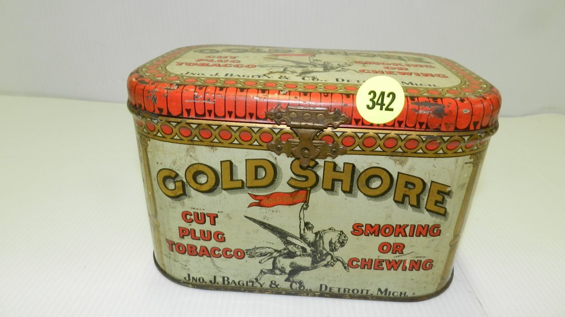 vintage tin Gold Shore cut plug tobacco can cond G,