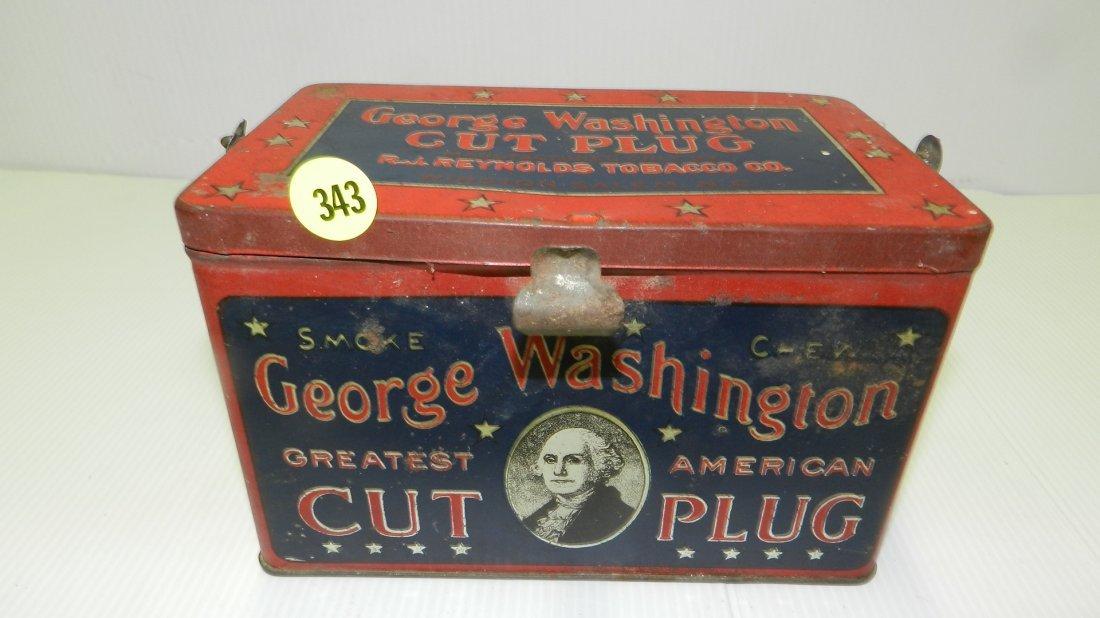 Antique tin litho George Washington cut plug tobacco