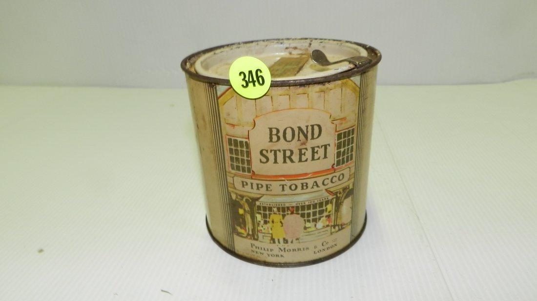 vintage Bond Street tobacco tin with city scene, cond G