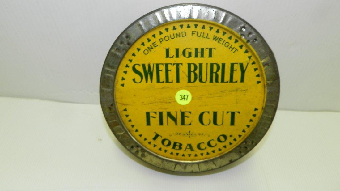 round / flat style Sweet Burley advertising tobacco tin