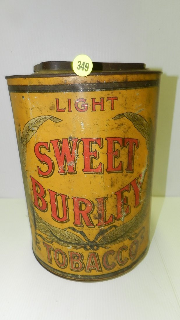 large antique advertising tin for Sweet Burley tobacco