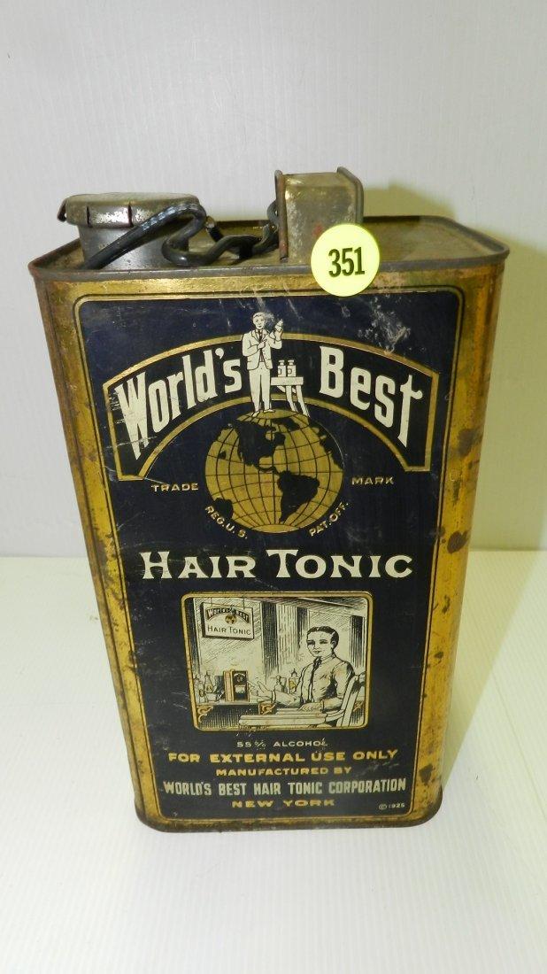 antique advertising tin for World's Best Hair Tonic,