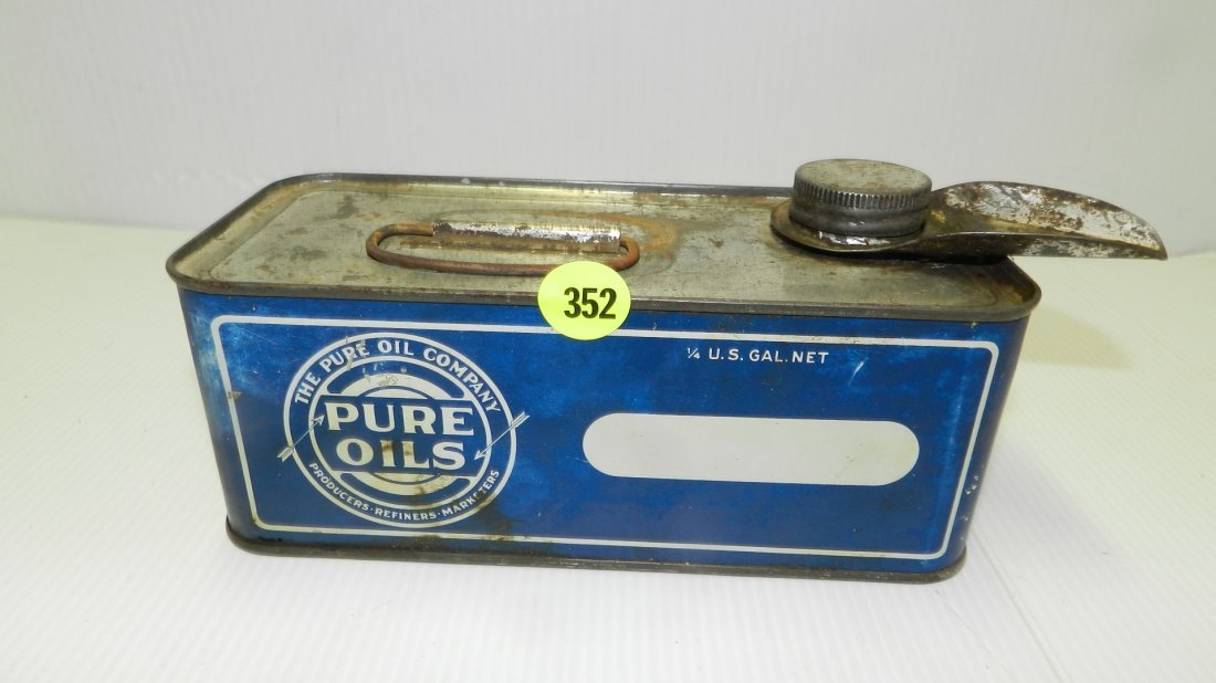 antique Pure Oil Co, tin for Pure Oils, cond G shows