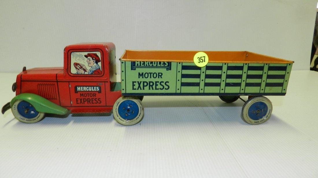 "nice antique tin litho toy truck ""Hercules"" Motor"