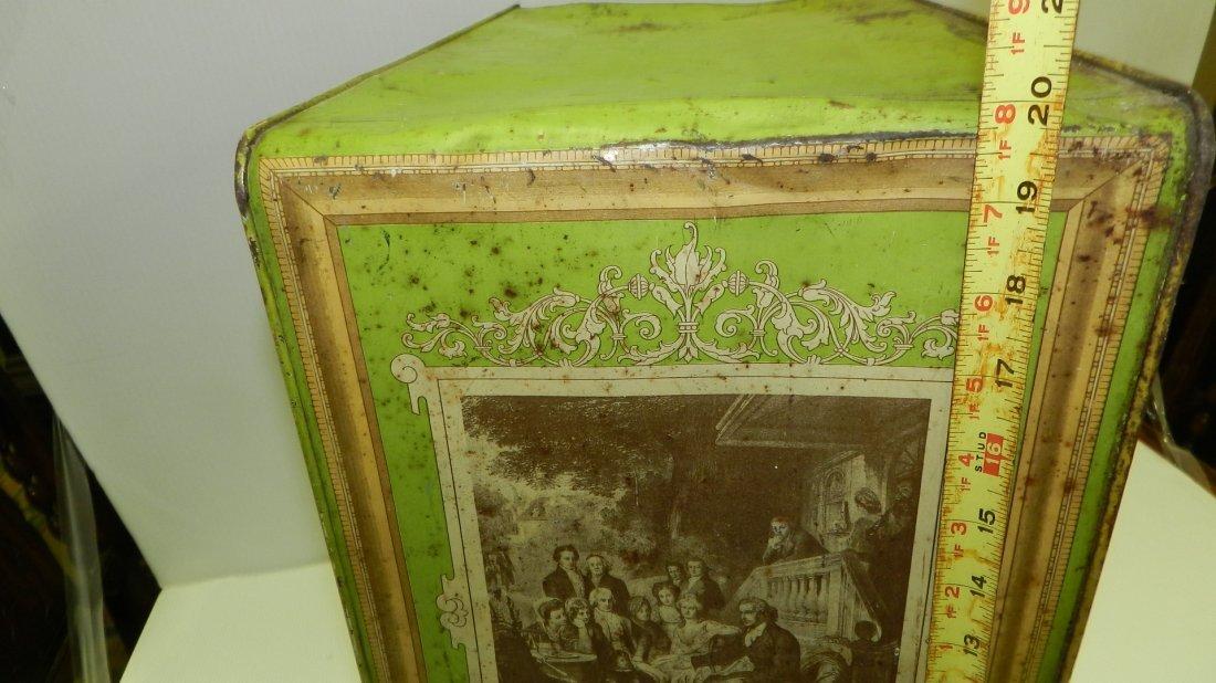 antique tin litho Schepp's bread box, cond Fair, shows - 10