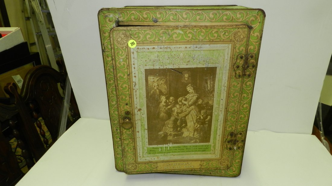 antique tin litho Schepp's bread box, cond Fair, shows