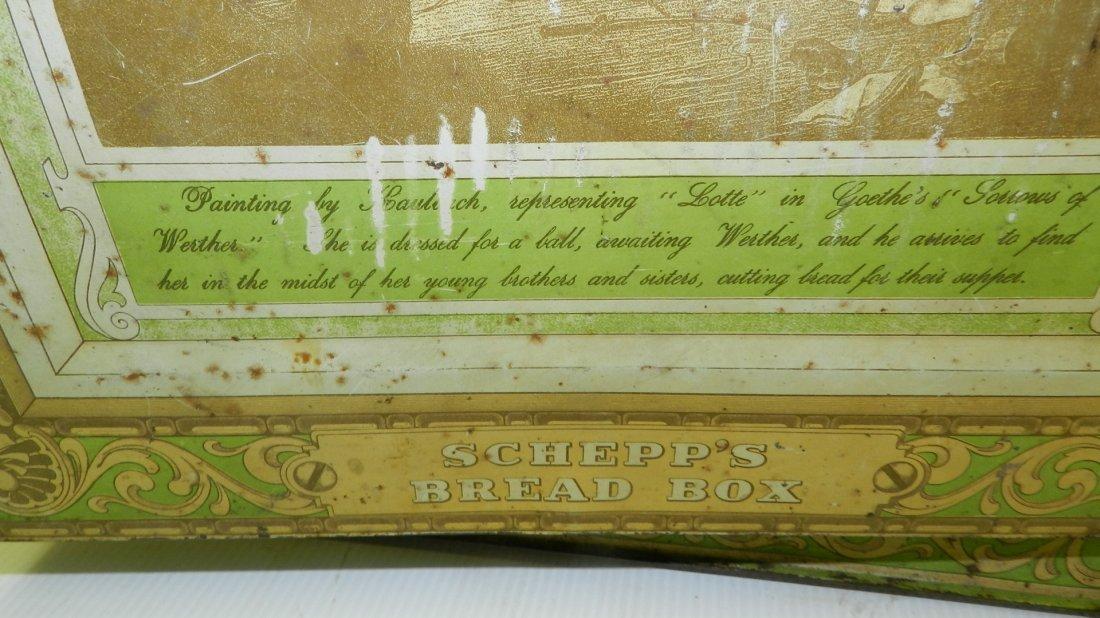 antique tin litho Schepp's bread box, cond Fair, shows - 3