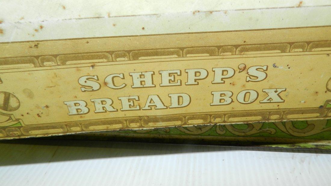 antique tin litho Schepp's bread box, cond Fair, shows - 4