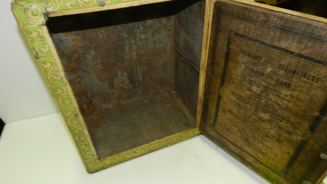 antique tin litho Schepp's bread box, cond Fair, shows - 6