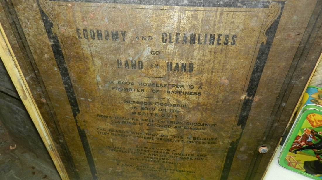 antique tin litho Schepp's bread box, cond Fair, shows - 7