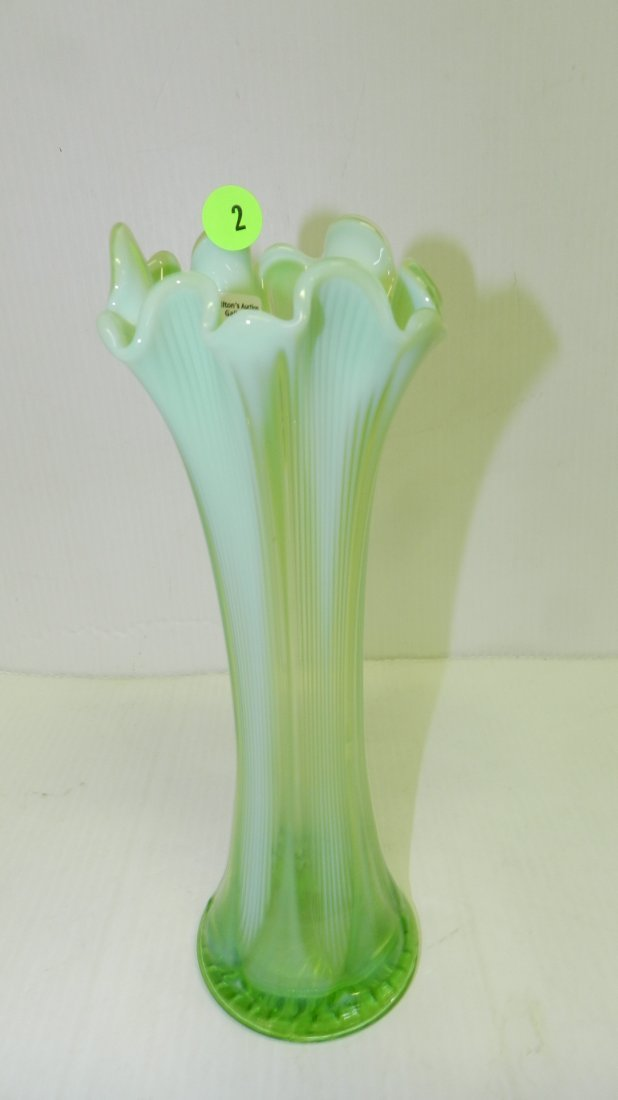 Vintage Opalescent green glass vase COND VG